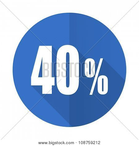40 percent blue web flat design icon on white background