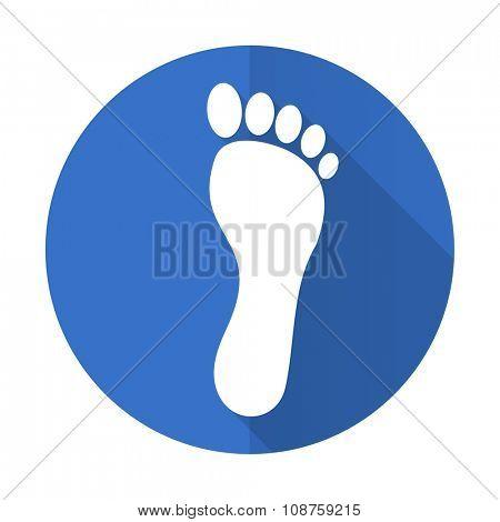 foot blue web flat design icon on white background