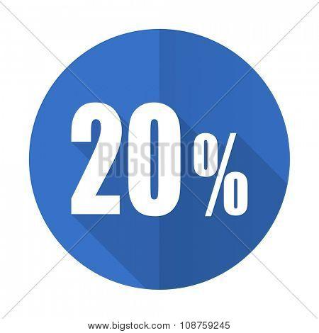 20 percent blue web flat design icon on white background