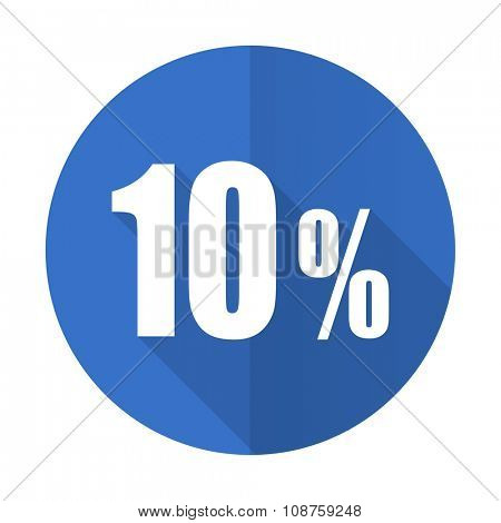 10 percent blue web flat design icon on white background