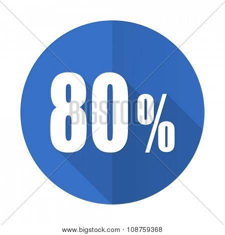 80 percent blue web flat design icon on white background