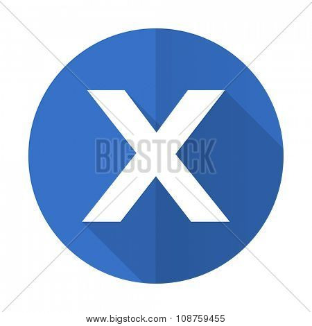 cancel blue web flat design icon on white background