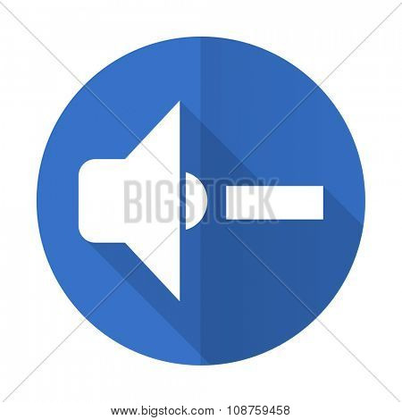 speaker volume blue web flat design icon on white background