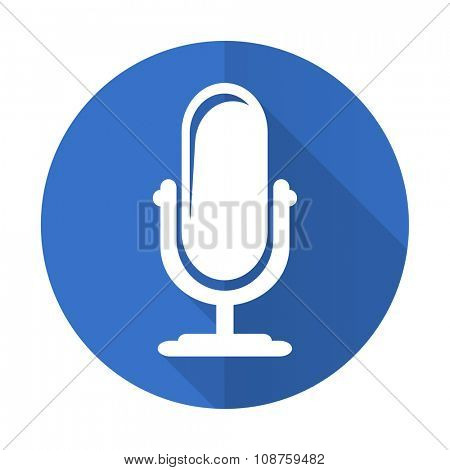 microphone blue web flat design icon on white background
