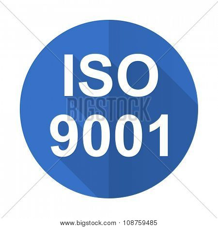 iso 9001 blue web flat design icon on white background