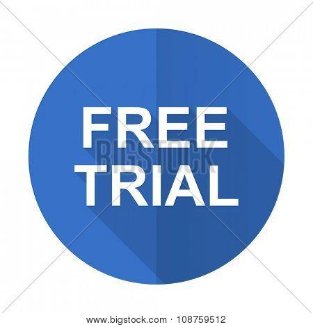 free trial blue web flat design icon on white background
