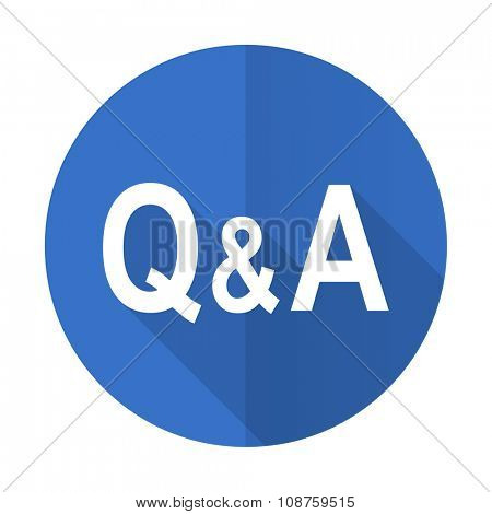 question answer blue web flat design icon on white background