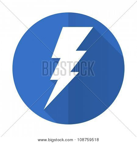 bolt blue web flat design icon on white background
