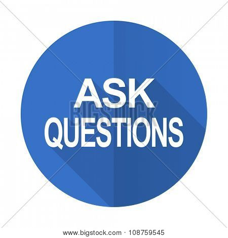 ask questions blue web flat design icon on white background