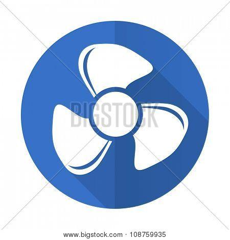 fan blue web flat design icon on white background