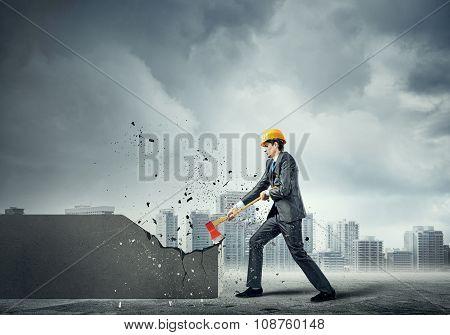 Engineer man break wall