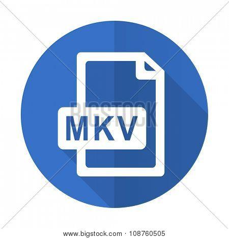 mkv file blue web flat design icon on white background