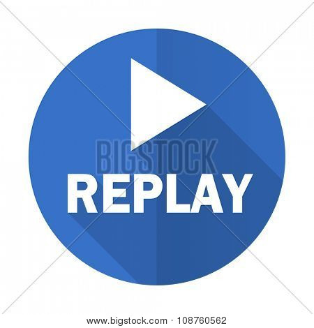 replay blue web flat design icon on white background