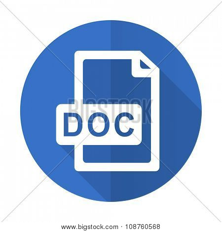 doc file blue web flat design icon on white background