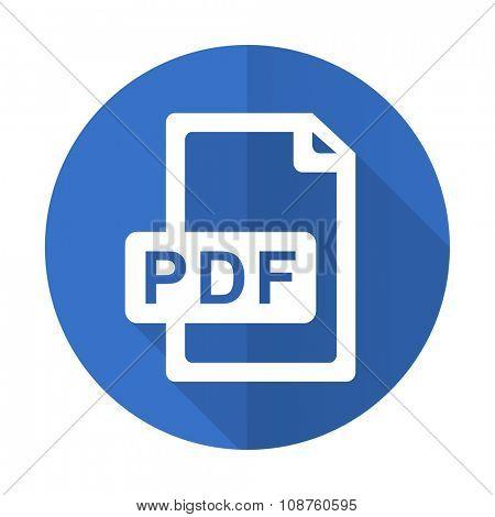 pdf file blue web flat design icon on white background