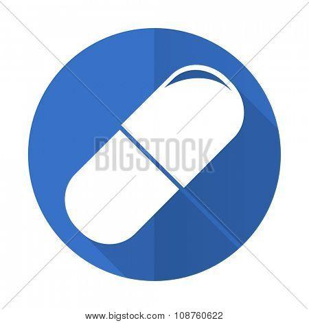 drugs blue web flat design icon on white background