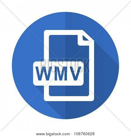 wmv file blue web flat design icon on white background