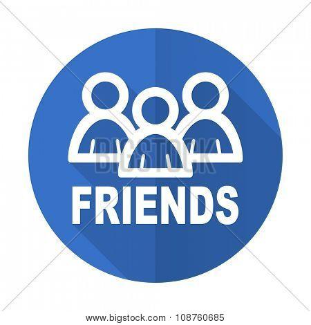 friends blue web flat design icon on white background