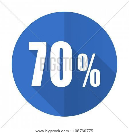 70 percent blue web flat design icon on white background