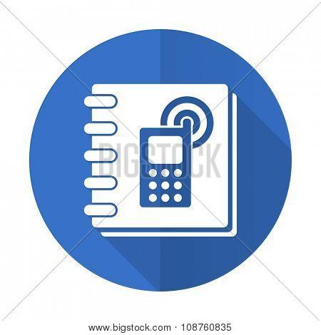 phonebook blue web flat design icon on white background