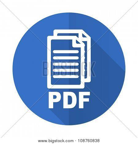 pdf blue web flat design icon on white background ,