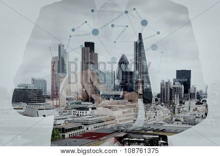 Double Exposure Of Success Businessman Using Smart Phone And Social Media Diagram With London City B