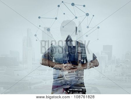 Double Exposure Of Smart Medical Doctor Hand Looking At London City As Medical Network And Media Con