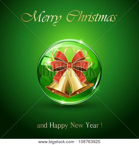 Christmas Bells In Green Sphere