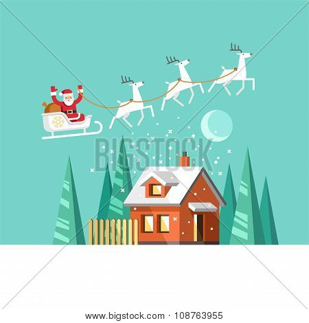 Santa on Sleigh and his Reindeers Winter House