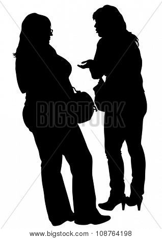 Fat and thin woman on white background