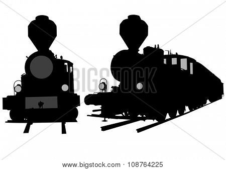 Great vintage steam locomotive on a white background