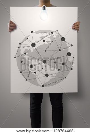 Man Showing Poster Of Social Network Structure As Concept