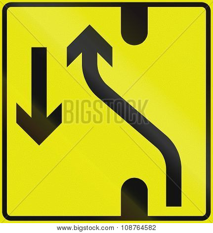 Norwegian Lane Information Road Sign - Road Diversion To The Left