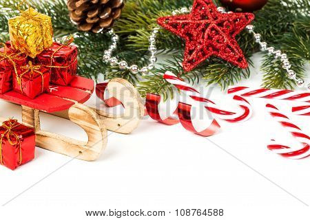 Bright christmas composition with sledge
