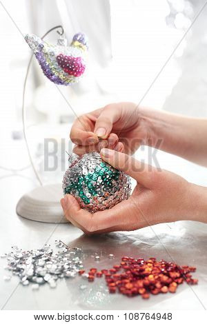 The idea for a Christmas present, handmade sequin decoration