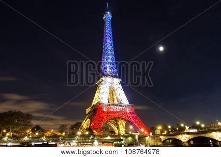 The Eiffel Tower At Night, Paris, France.