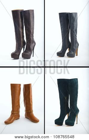Collection of knee high boots over white