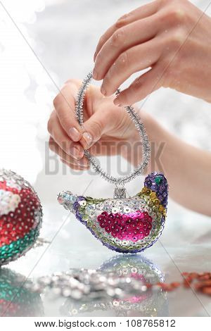 Sequined Christmas ornaments
