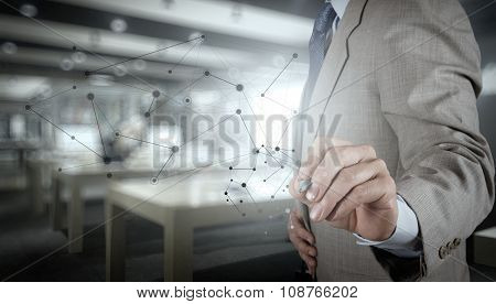 Double Exposure Of Business Hand Working With New Modern Computer Show Social Network Structure And