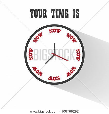 Flat Clock Motivation Business Design With Inscription