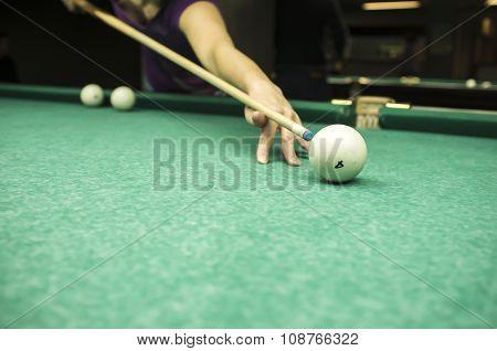 Man Playing Russian Billiards