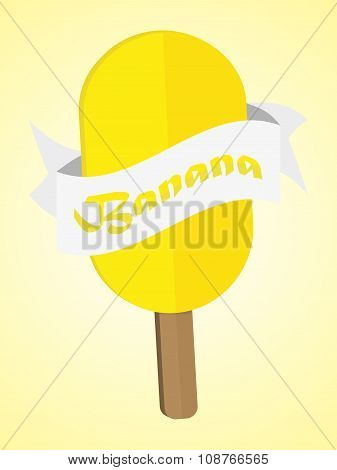 Flat Ice Cream With Ribbon And Banana Text Vector ice lolly