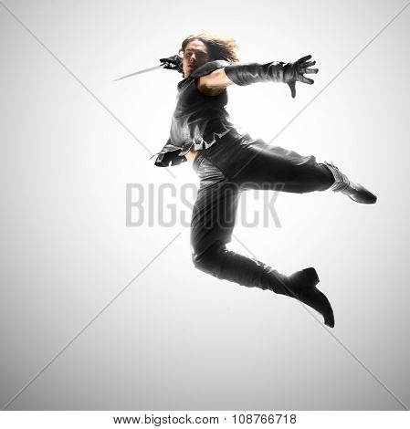 Man Jumping With A Sword, Attack