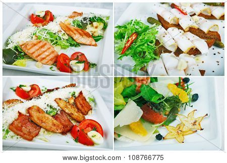 Collection of salads, isolated on white.