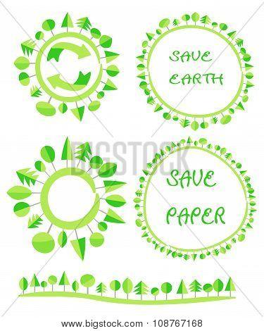 Ecological Flat Earth Green Tree Circle Recycle Eco Globe