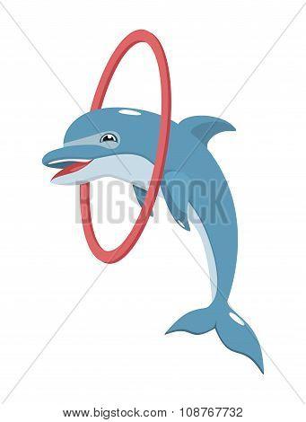 Cheerful Dolphin Jumping Through A Hoop