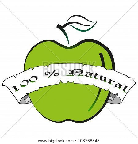green Apple silhouette.natural Fresh Fruit