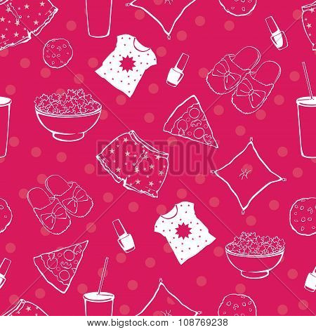Vector Hot Pink Pajama Party Food Objects Seamless Pattern. Pizza. Popcorn. Sleepover. Slumber. Trea