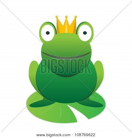 Cute Smiling Cartoon Frog Prince With Crown Vector Animal