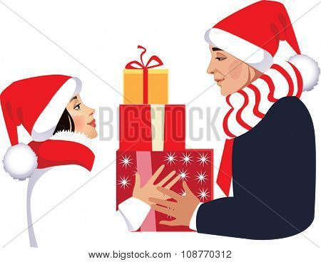 men and woman with a gift box